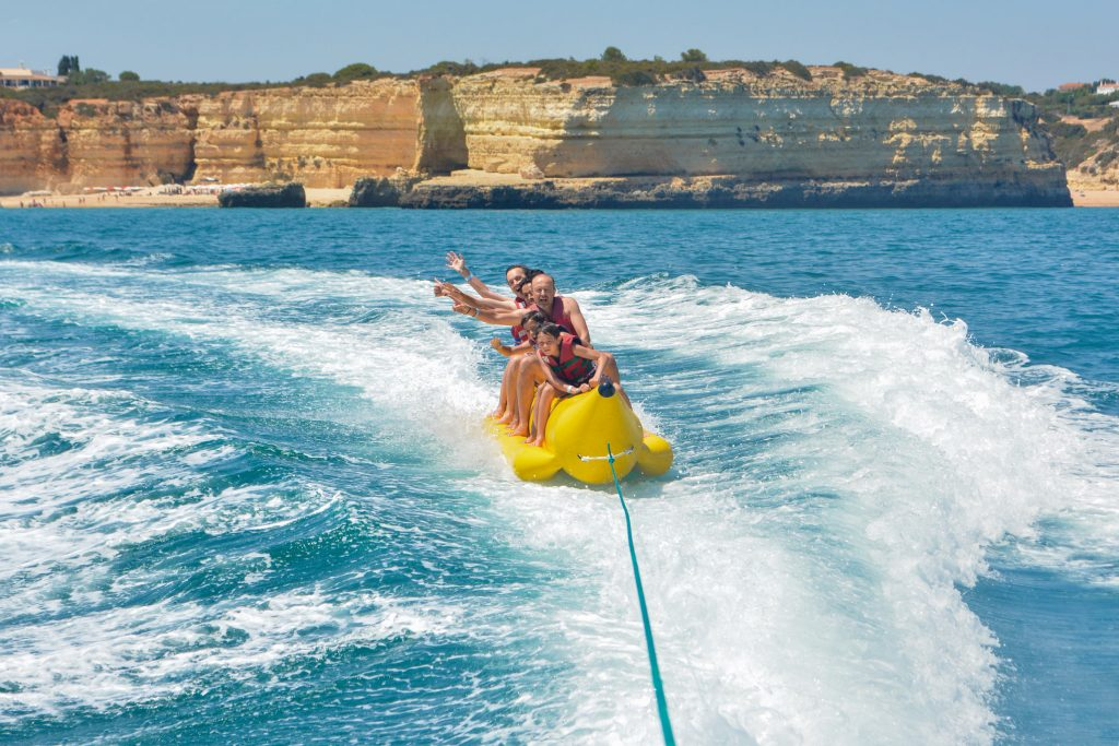 banana inflatable by boat with algarexperience, enjoy the sea