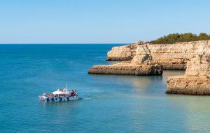 catamaran belize close to yellow submarine rock formation algarexperience albufeira